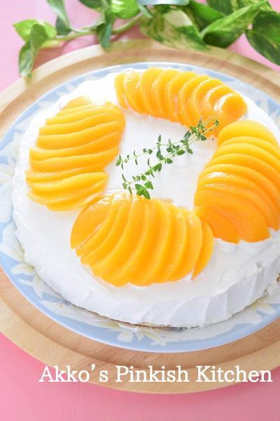 黄桃のケーキ♡気軽なお茶の時間に♪