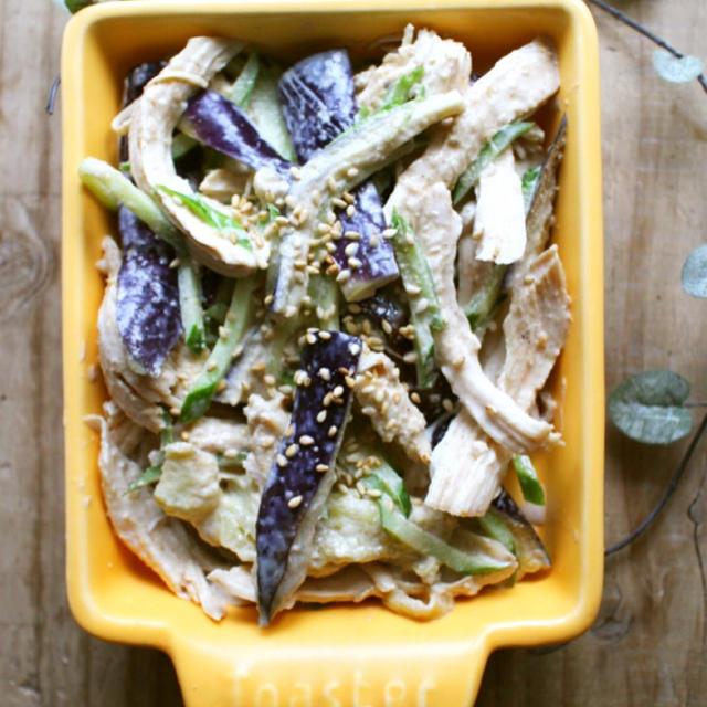 *レンジで鶏となすのつくりおきサラダと、風邪でダウン。*