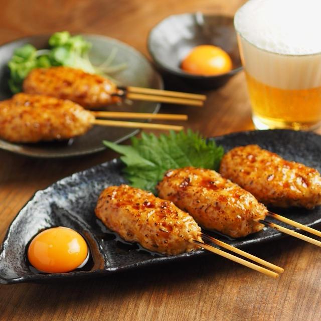 月見鶏つくね串の作り方、電子レンジで簡単、柔らかレシピ