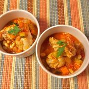 鶏手羽元とお豆と野菜の煮込みスープ