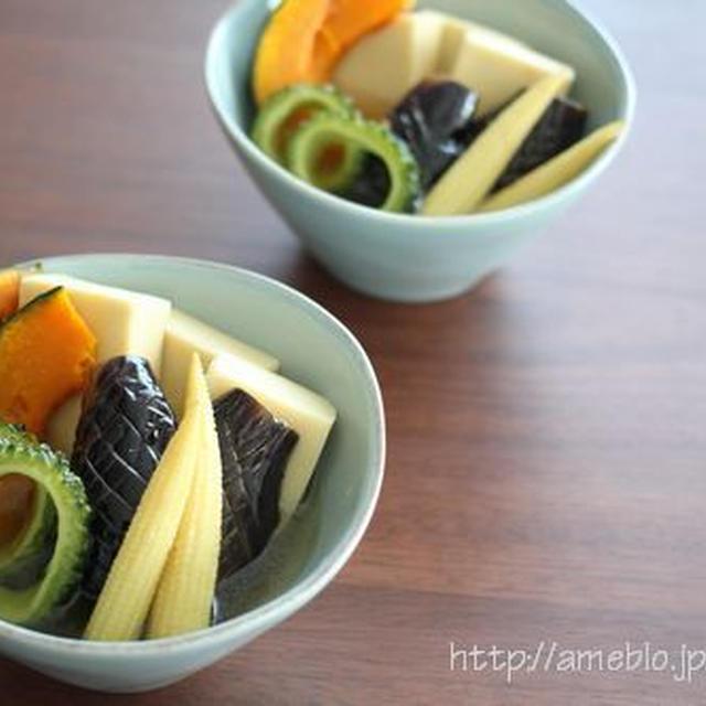水で変わる毎日の料理連載更新*出汁を味わう高野豆腐揚げ浸し夏野菜