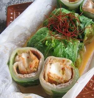 モッツァレラ入り 豚キムチのロール白菜蒸し