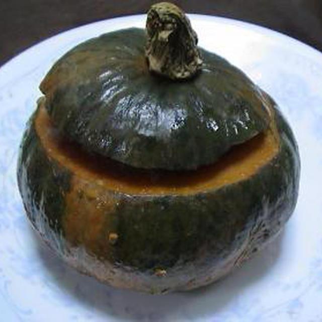 健康法師の かぼちゃの器のハンバーグ チーズでトロ~