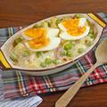 ゆで卵とえんどう豆のジャーマンポテトなドリア