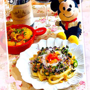 納豆とオクラのネバネバかけうどん♪(*ฅ́˘ฅ̀*)♡
