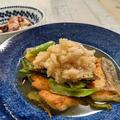 【秋サケのムニエル・おろしポン酢&めんつゆ浸し】簡単美味しいね。