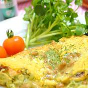 たっぷりパセリの 納豆チーズオムレツ