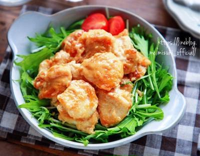 ♡まったりコクうま♡鶏むね肉のオイマヨ和え♡【#簡単レシピ#節約#時短】
