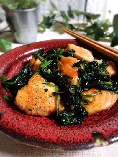 生秋鮭とほうれん草のソテー