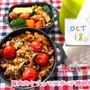 今日はフラフープの日【次男弁当】豚肉のケチャマスタード炒め弁当【晩ごはん】和風サイコロステーキ