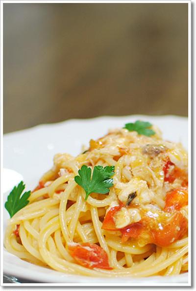 鯛とミニトマトのスパゲッティーニ