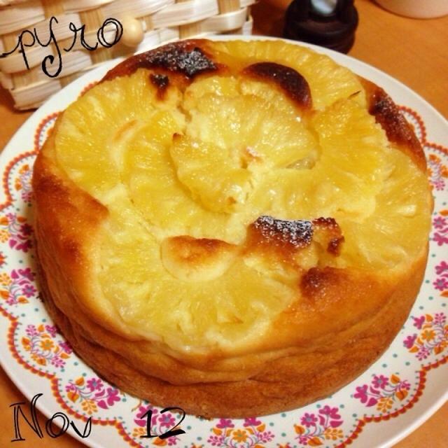 残ったパインで☆もっちりお豆腐ヨーグルトケーキ♪