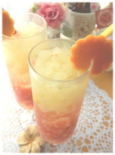 アイスボックスdeピンクグレープフルーツ&スパークリングワインの食べるカクテル♪