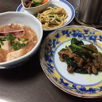 ラム肉のエスニック炒めとイカ豆腐のなめたけ餡掛けでお晩酌。