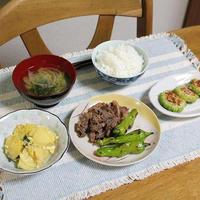 牛肉のごま焼きと肉詰めゴーヤとスイカのヨーグルト和えでうちごはん(レシピ付)