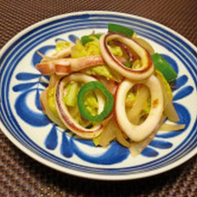 イカと野菜のスパイス炒め