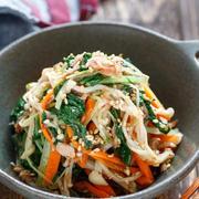 水菜とえのきのツナポンおかか和え【#簡単 #節約 #時短 #レンジ #湯かけ #副菜】