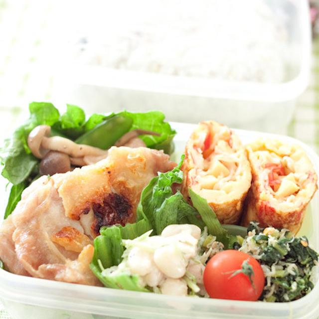 お弁当『鶏の塩焼きとかに玉っぽい玉子焼き』