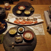 2/14の晩ごはん お刺身ごはんとお鍋と小鉢色々 ダンナごはんです