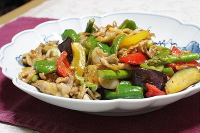 12/08/20 夏野菜と豚肉とキムチのオイスターマヨ炒め
