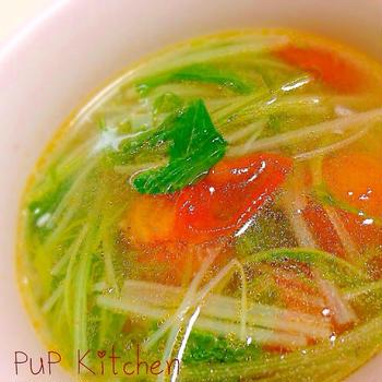 クックパッド話題入り★中華風☆水菜とトマトさっぱりスープ☆