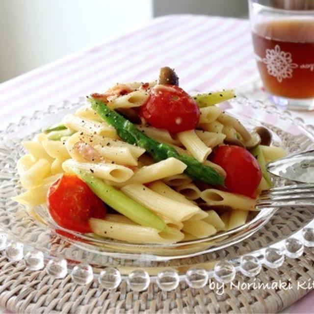彩り野菜のワンパンパスタ♪