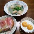 彩りの朝・蕪とピーマン、生若布のスープ