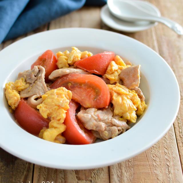 豚肉とトマトの卵炒め。中華風おかず。フライパンで簡単!【農家のレシピ帳】