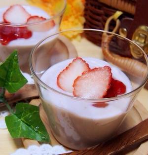 苺ジャムで簡単*豆腐の苺プリン