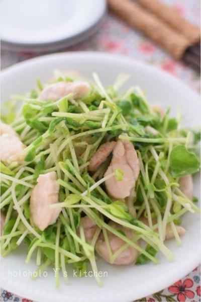 豆苗と鶏の花椒塩炒め