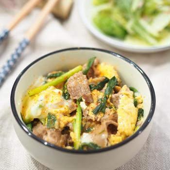 包丁まな板不要♡フライパンde10分♡韓国風ネギ豚卵とじ♡〈からうま〉