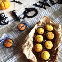 どんどん混ぜて♪かぼちゃのチョコチャンクマフィン。簡単*速攻
