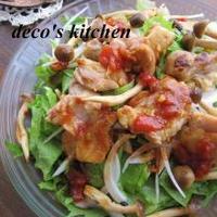 しゃきしゃきレタス&水菜とジューシーチキンの、トマト胡麻ポンサラダ♪