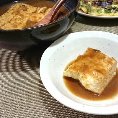 牛すじ生姜土手煮のリメイク、煮汁で焼豆腐の味噌煮込み