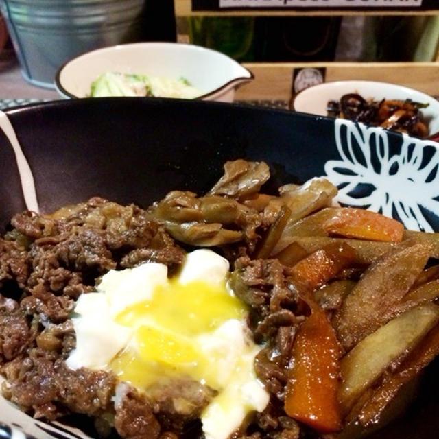 牛肉とごぼうと舞茸のうまうま煮。