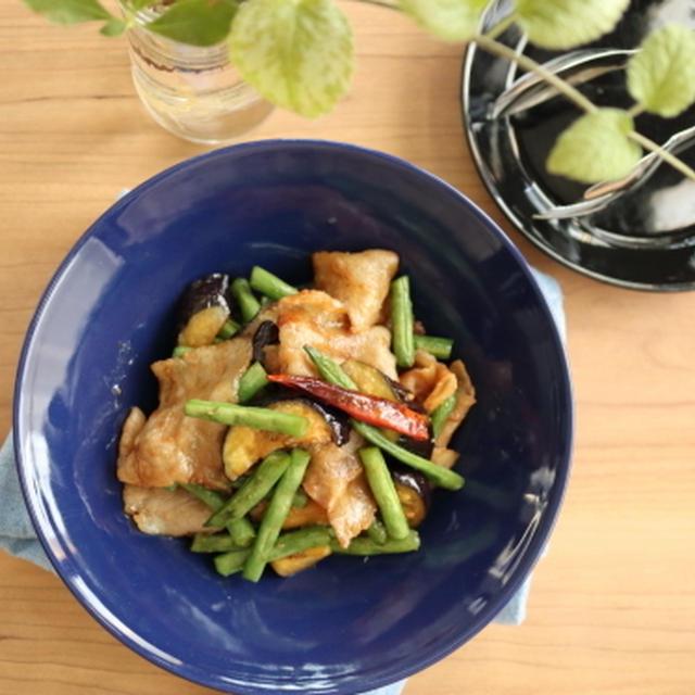 白いご飯のおかず♡豚バラ茄子といんげんの味噌炒め