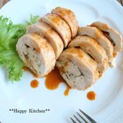 レンジで5分*鶏胸肉でケチャップ風味のバジルチーズロールチキン【連載更新しました】*運動会弁当