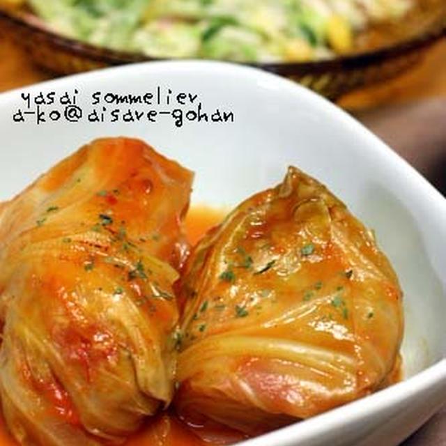 ハンバーグのタネ&トマトジュースで簡単♪「トマト味のロールキャベツ」
