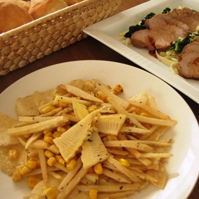 タロチップスと筍の簡単おつまみ・ローストポーク