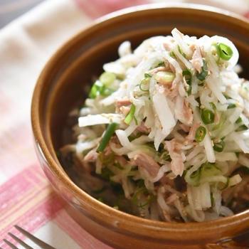 cookpadさんトップページ掲載♪大根とツナのネギ塩サラダレシピ