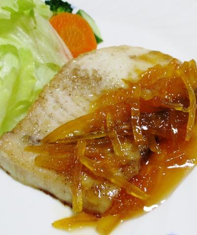 メカジキのマーマレードバター醤油ソース