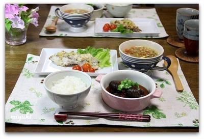 塩麹漬け鯛のパン粉焼き&飲むサラダ ガスパチョ