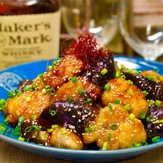 【レシピ】お酢でさっぱり♬鶏ささみと茄子の甘辛炒め♬