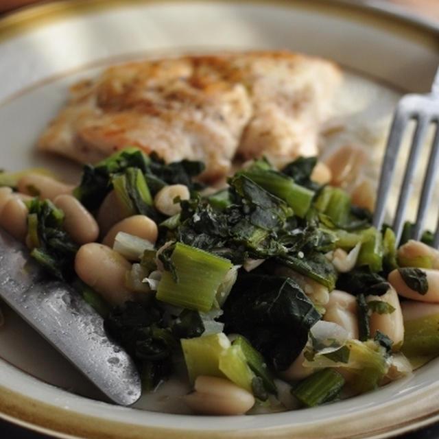 鶏ムネ肉のソテー 白いんげん豆と野菜の蒸し煮添え