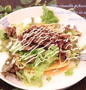 昼カフェ☆甘辛そぼろのサラダパンケーキ(レシピ)