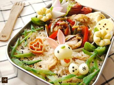 >鶏のから揚げ野菜あんかけ*イースターバニーのお弁当 by goma-milkさん