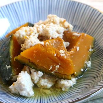【簡単!かぼちゃレシピ】冬至にもオススメ♪鶏ひき肉でボリュームアップ♪かぼちゃの鶏そぼろ煮