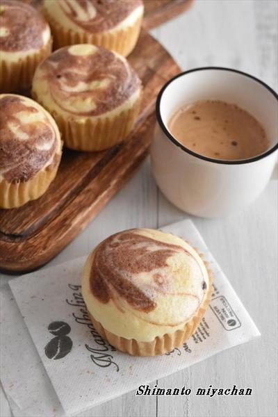 フライパンで簡単!ホットケーキミックスを使って カスタード マーブル蒸しパン