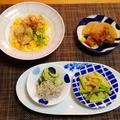 レンジ5分鶏チャーシュー丼晩御飯☆なんちゃってアスパラの胡麻和え♪☆♪☆♪