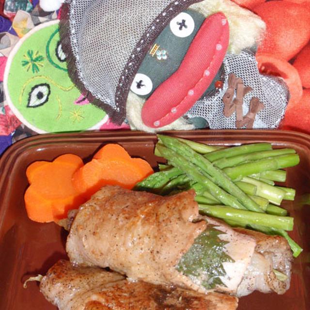 茗荷と大葉の豚肉巻き&水菜のシーザーサラダ(お家カフェ)